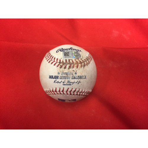 Photo of Game-Used Baseball -- Jake Arrieta No-Hit Game -- Jake Arrieta to Joey Votto, Pitch in Dirt, First Inning -- Cubs vs. Reds on April 21, 2016