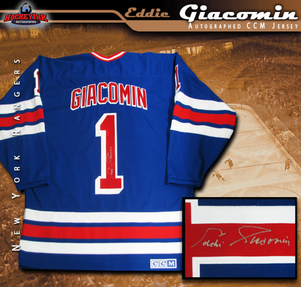 EDDIE GIACOMIN Signed New York Rangers Blue CCM Jersey