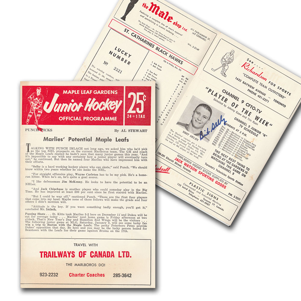 Brit Selby Autographed 1960s Toronto Marlboros OHA Program