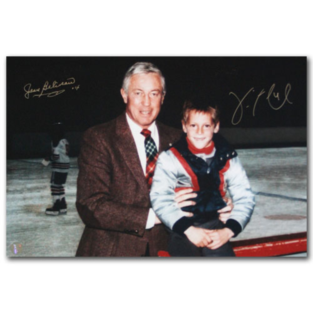 Jean Beliveau & Vincent Lecavalier Autographed 10X15 Photo (Montreal Canadiens, Los Angeles Kings)