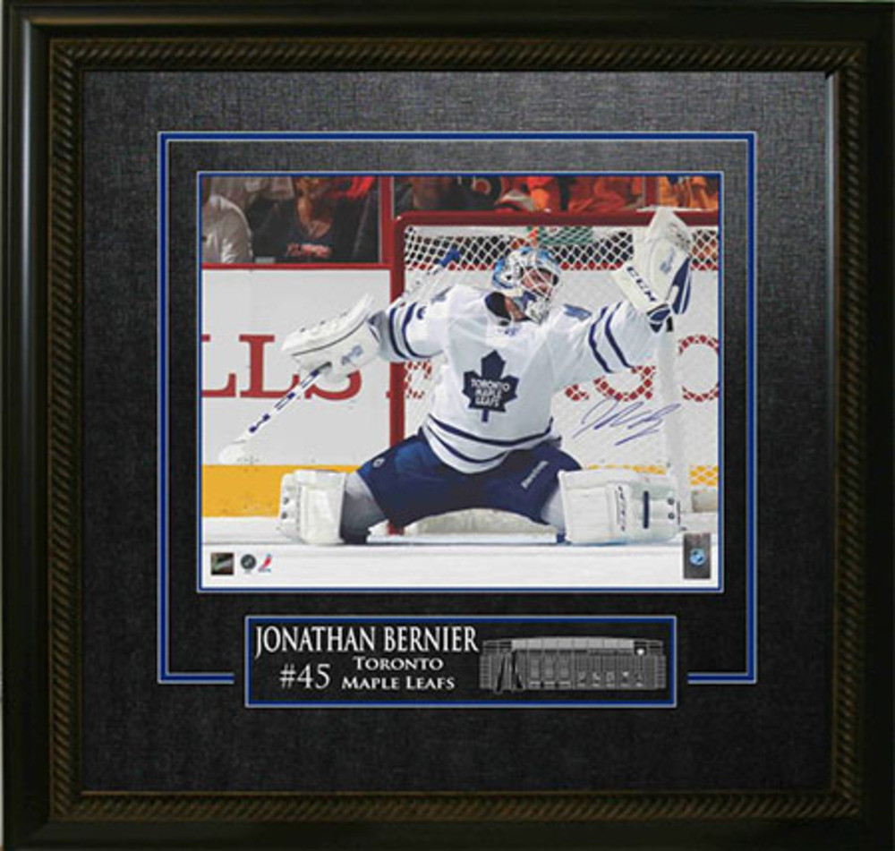 Jonathan Bernier Signed 16x20 Etched Mat Leafs White Jersey Save
