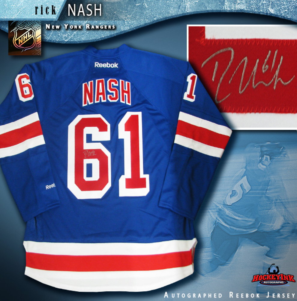 RICK NASH Signed New York Rangers Blue Reebok Jersey