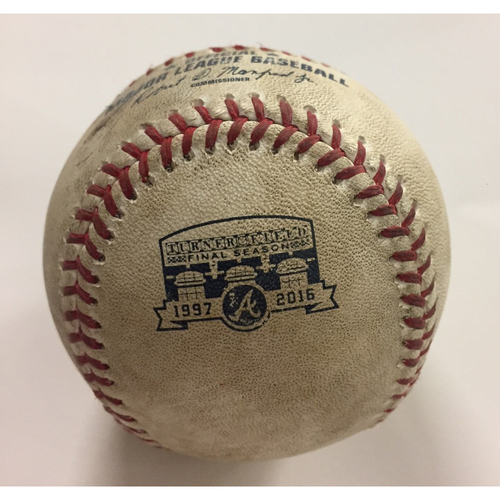 Photo of 2016 Game Used Baseball - Pitcher: Tyrell Jenkins, Batter: Tyler Naquin, Single