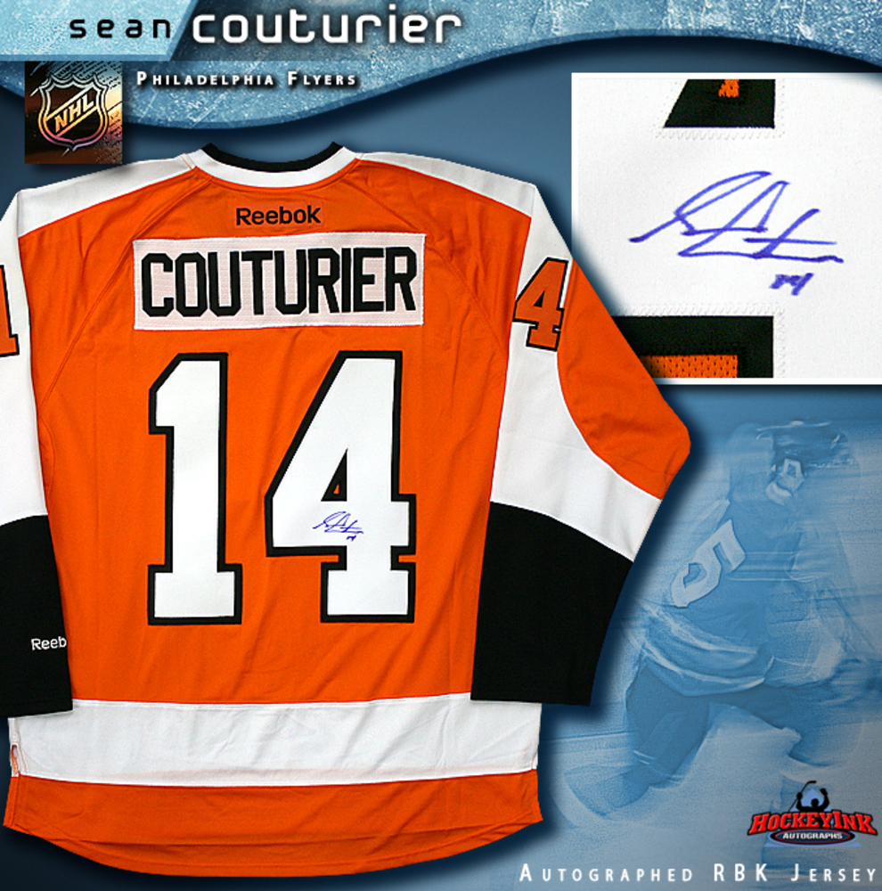 SEAN COUTURIER Signed Orange Reebok Philadelphia Flyers Jersey