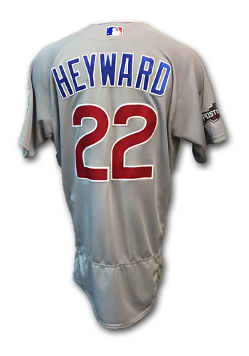 Photo of Jason Heyward Game-Used Jersey -- Cubs at Dodgers -- NLCS Game 4 -- 10/19/16 and NLCS Game 5 -- 10/20/16