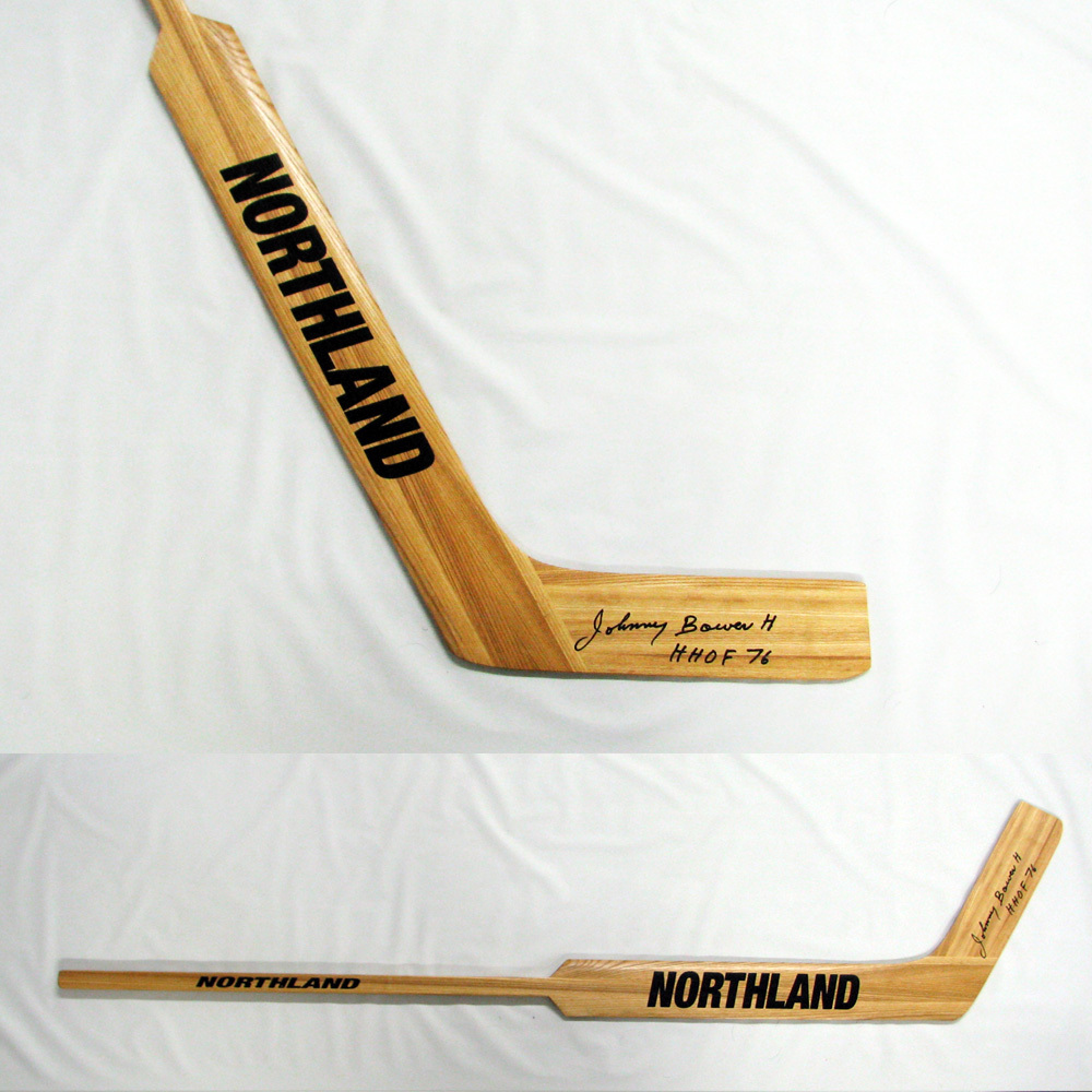 JOHNNY BOWER Signed Northland Goalie Stick with HHOF 76 inscription - Toronto Maple Leafs