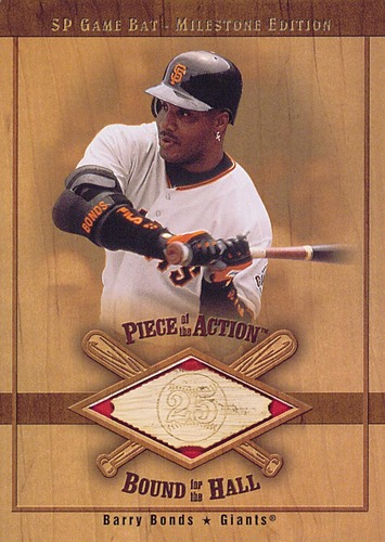 Photo of 2001 SP Game Bat Milestone Piece of Action Bound for the Hall #BBB Barry Bonds
