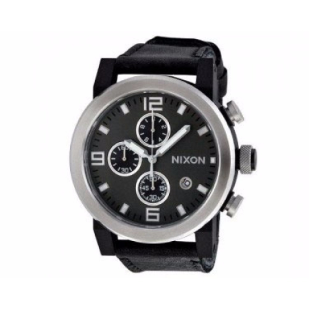 Nixon Men's Ride Chronograph Black Horween Leather Grey Dial A315000-00