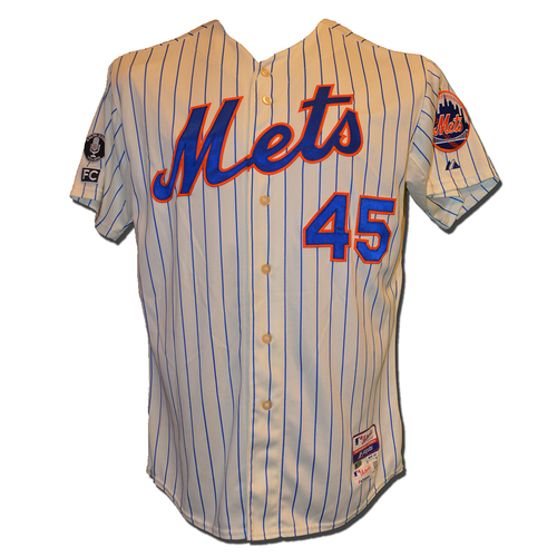 Photo of Zack Wheeler #45 - Game Used Cream Pinstripe Jersey - 4 IP, 4 K - Mets vs. Nationals - 9/13/14