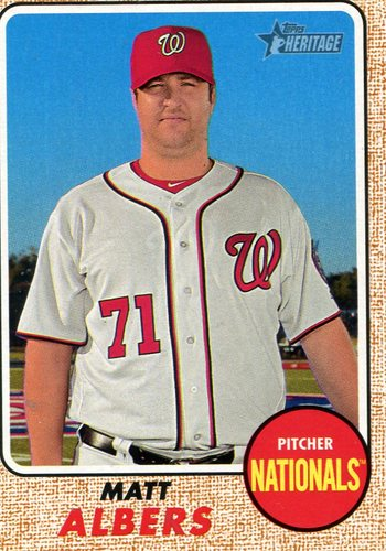 Photo of 2017 Topps Heritage #634 Matt Albers -- Nationals post-season