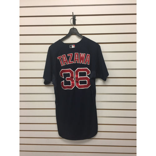 Photo of Junichi Tazawa Game-Used September 18, 2015 Road Alternate Jersey
