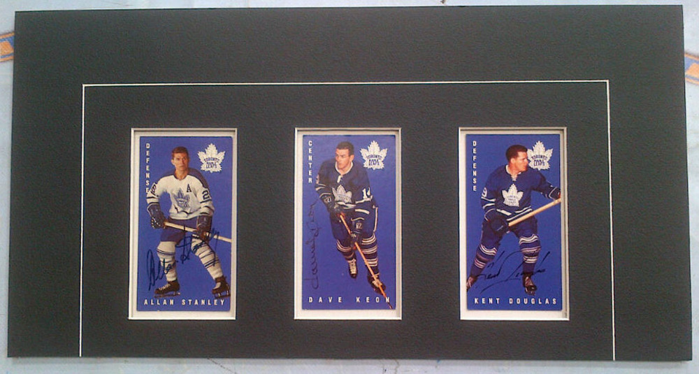 ALLAN STANLEY, DAVE KEON, & KENT DOUGLAS Toronto Maple Leafs Autographed & Matted Hockey Cards *9.5 X 18*