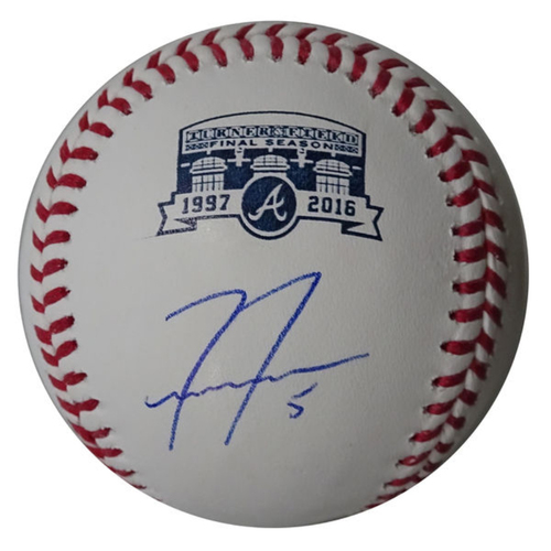 Photo of Freddie Freeman Autographed Baseball with Turner Field Final Season Logo