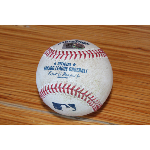 Photo of Game-Used Baseball: SF at KC - April 19, 2017 (Moustakas SGL RBI & Cain DBL off of Madison Bumgarner)