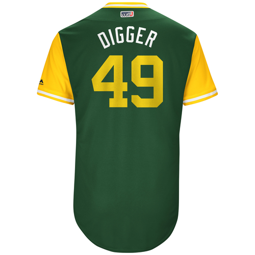 "Photo of Kendall ""Digger"" Graveman Oakland Athletics Game-Used Players Weekend Jersey"