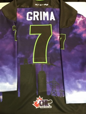 #7 Nick Grima Autographed game worn Sarnia Sting Esports jersey