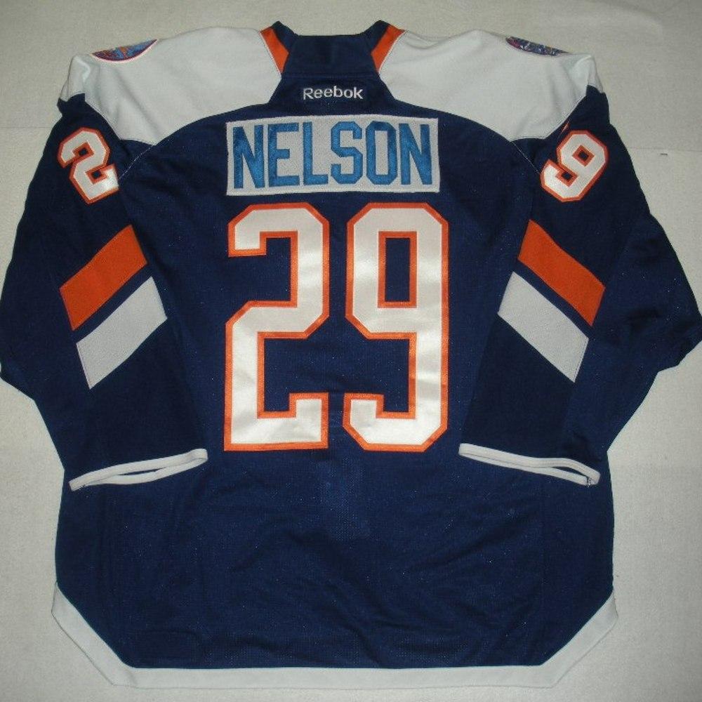 Brock Nelson - 2014 Stadium Series - New York Islanders - Blue Game-Worn Jersey - Worn in First Period