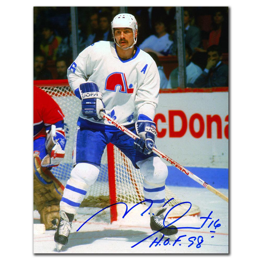 Michel Goulet Quebec Nordiques WHITE JERSEY Autographed 8x10