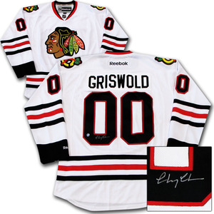 Chevy Chase Autographed Chicago Blackhawks GRISWOLD Jersey