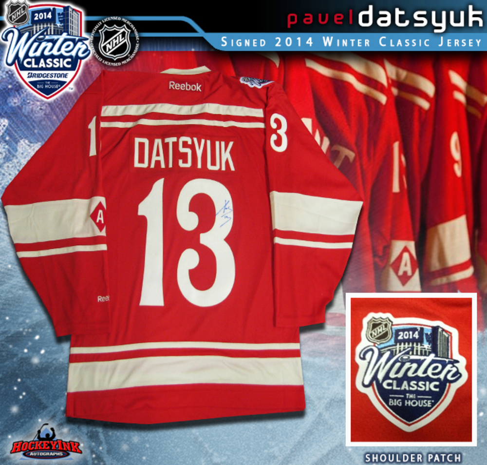 PAVEL DATSYUK Signed 2014 NHL WINTER CLASSIC Detroit Red Wings Red Reebok Jersey