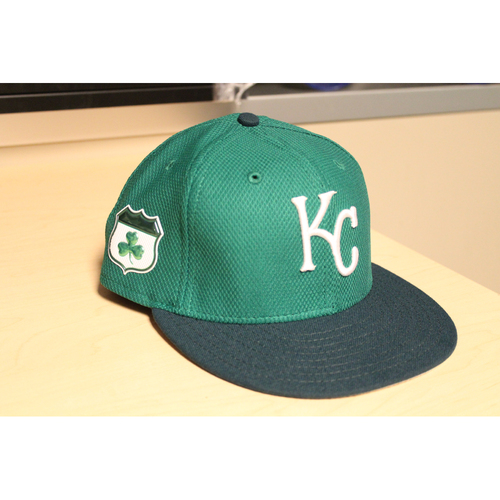 Photo of Chelsor Cuthbert Game-Used St. Patrick's Day Cap (DBL, RBI - Top of 1st) (Cap Size: 7 3/8)