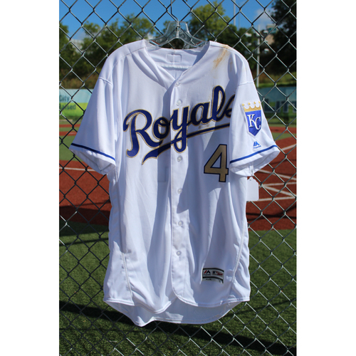 Photo of Game-Used Jersey: Alex Gordon 1312nd Career Hit (Size 46 - CLE at KC - 8/18/17)
