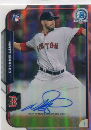 Photo of 2015 Bowman Chrome Rookie Autographs Refractors 429/499 Matt Barnes -- Red Sox post-season