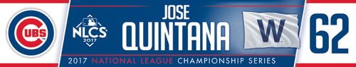 Photo of Jose Quintana Game-Used Locker Nameplate -- NLCS Game 4 -- Dodgers vs. Cubs -- 10/18/17