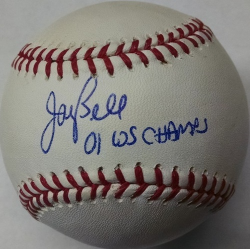 "Photo of Jay Bell Autographed ""01 WS Champs"" Baseball"