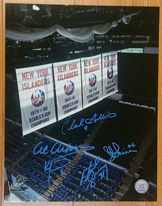 New York Islanders Dynasty Multi-Signed 11x14 Photo *5 Autographs* *Al Arbour, Clark Gillies, Ken Morrow, Butch Goring & Bob Lorimer*