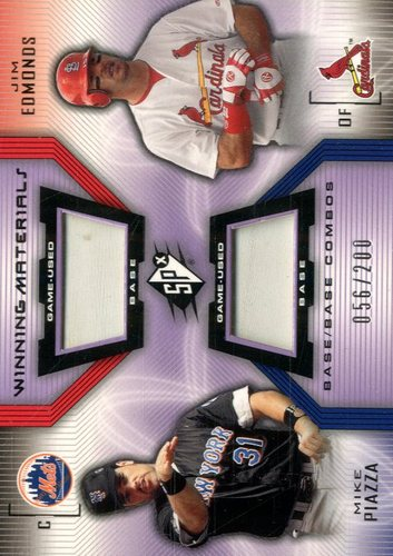 Photo of 2002 SPx Winning Materials 2-Player Base Combos #BPE Mike Piazza/Jim Edmonds
