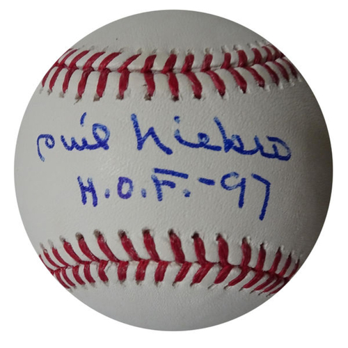 Photo of Phil Niekro Autographed Baseball with HOF 97 Inscription