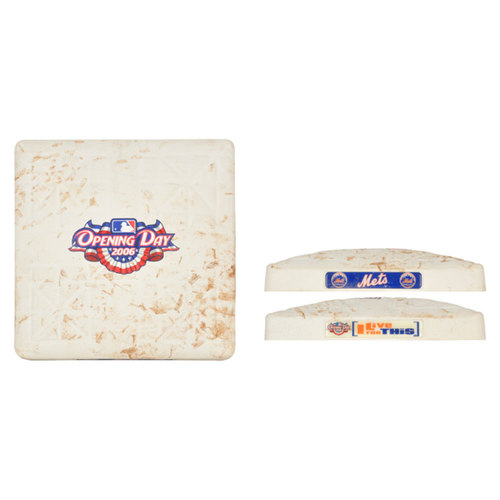 Photo of New York Mets 2006 Home Opener Game-Used Base Against Washington Nationals, 3-2 Mets Victory