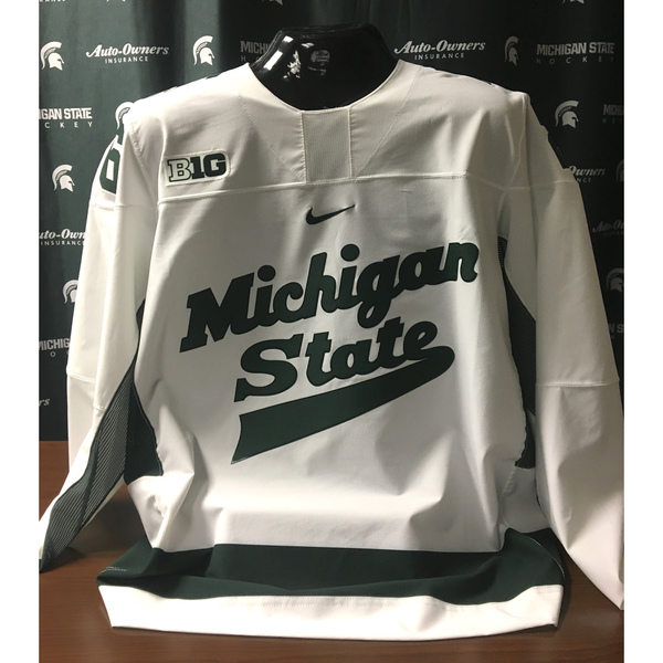 Authentic Michigan State Hockey Home #26 White Jersey (Customizable)