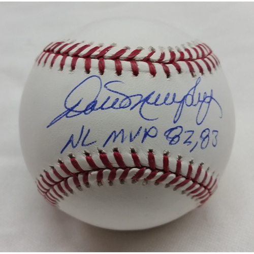 Photo of Dale Murphy Autographed Baseball with 82, 83 NL MVP Inscription