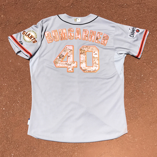 Photo of San Francisco Giants - Autographed Jersey - 2015 Memorial Day Camo Jersey - Madison Bumgarner