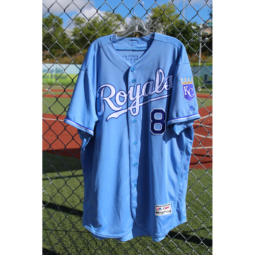Photo of Game-Used Jersey: Mike Moustakas 159th Career Double (Size 52 - CLE at KC - 8/20/17)