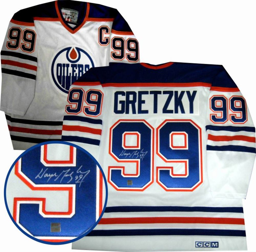 Gretzky,W Signed Jersey Oilers Replica White