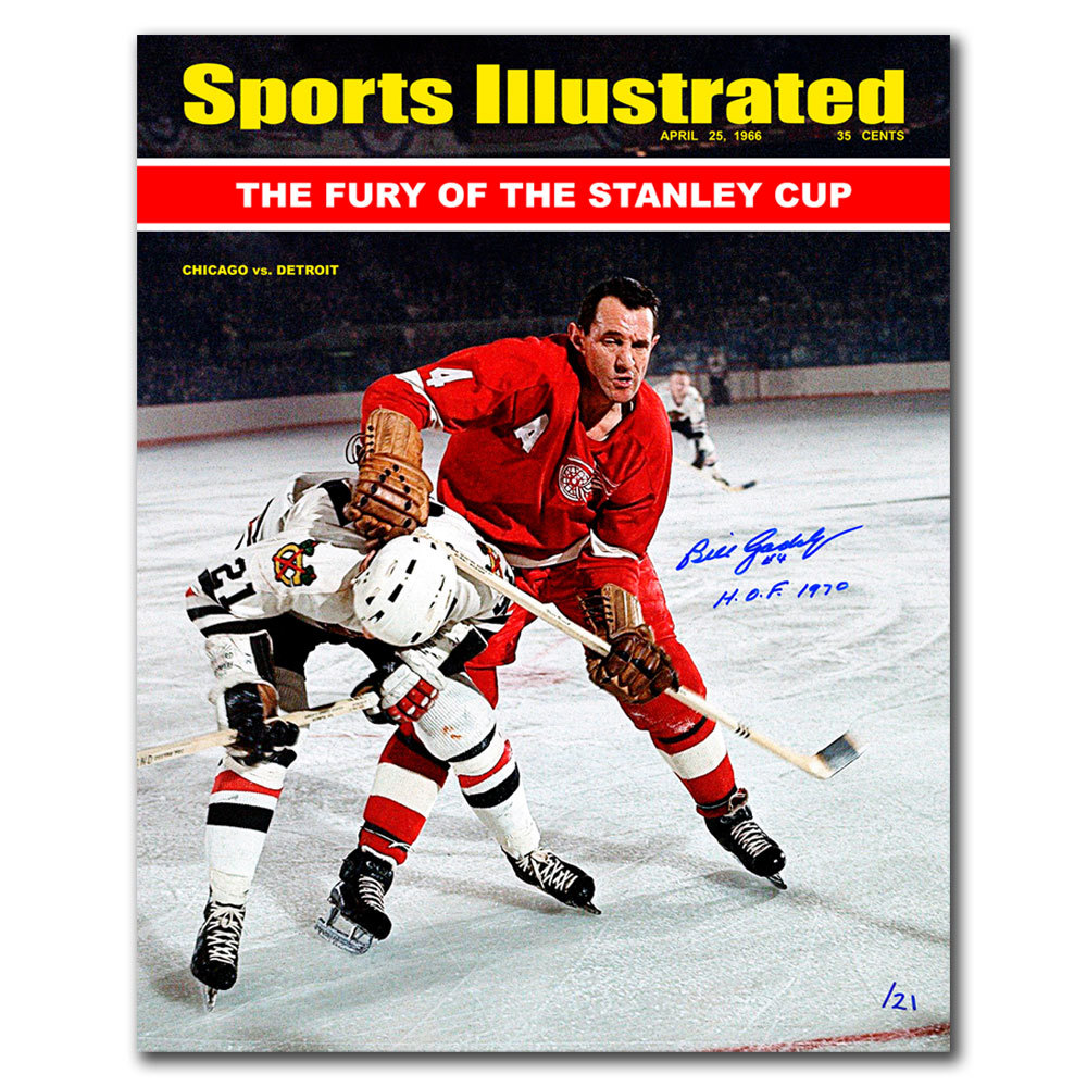 Bill Gadsby SI Detroit Red Wings vs. Mikita Autographed 16x20 LTD/21