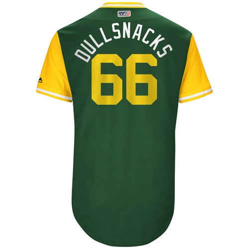 "Photo of Ryan ""Dullsnacks"" Dull Oakland Athletics Game-Used Players Weekend Jersey"