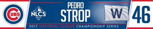 Photo of Pedro Strop Game-Used Locker Nameplate -- NLCS Game 4 -- Dodgers vs. Cubs -- 10/18/17