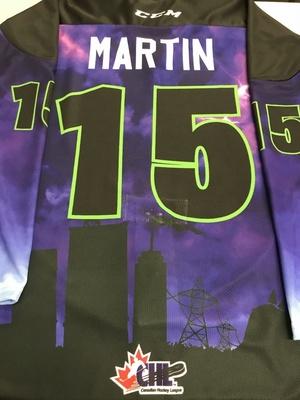 #15 Calvin Martin Autographed game worn Sarnia Sting Esports jersey