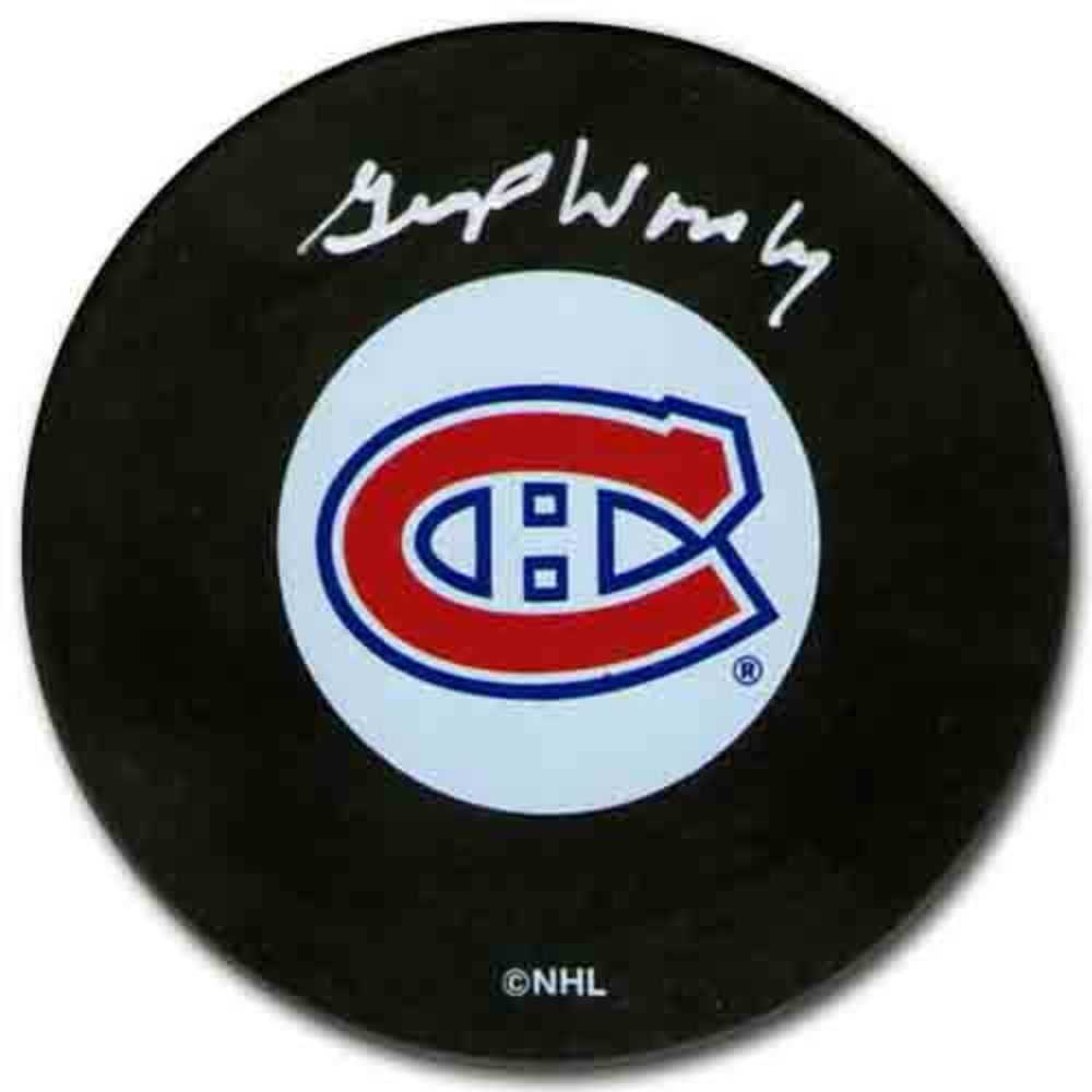 Gump Worsley Autographed Montreal Canadiens Puck