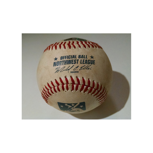 Photo of Dansby Swanson FIRST Professional Put Out Game-Used Baseball from PRO DEBUT on August 12, 2015