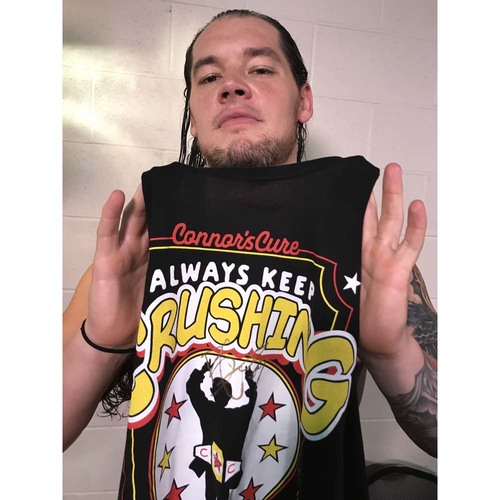 "Photo of Baron Corbin WORN & SIGNED Connor's Cure ""Crush"" T-Shirt (Connors Cure - 09/05/17)"