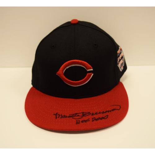 Photo of Marty Brennaman Autographed Cincinnati Reds Cap with HOF Inscription