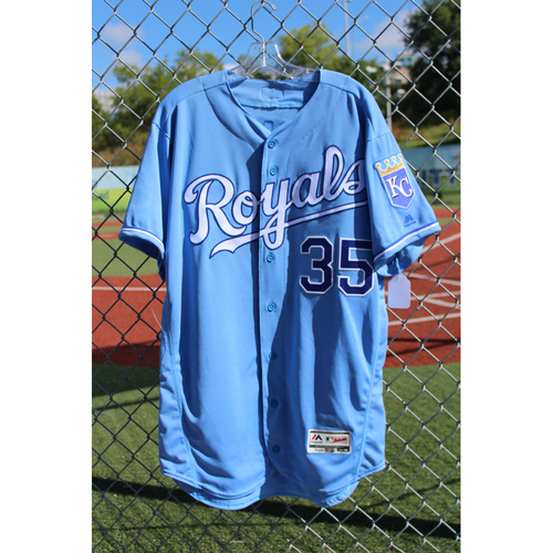 Photo of Game-Used Jersey: Eric Hosmer 1087th and 1088th Career Hits (Size 46 - CLE at KC - 8/20/17)