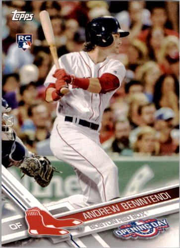 Photo of 2017 Topps Opening Day #58A Andrew Benintendi Rookie Card -- Red Sox post-season