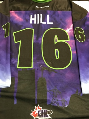#16 Theo Hill Autographed game worn Sarnia Sting Esports jersey