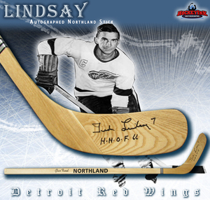 TED LINDSAY Signed Northland Wood Stick - Detroit Red Wings